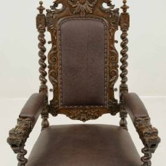 Oversized Chair Cushions Silver Velvet Dining Chairs Carved Victorian Oak Throne At 1stdibs