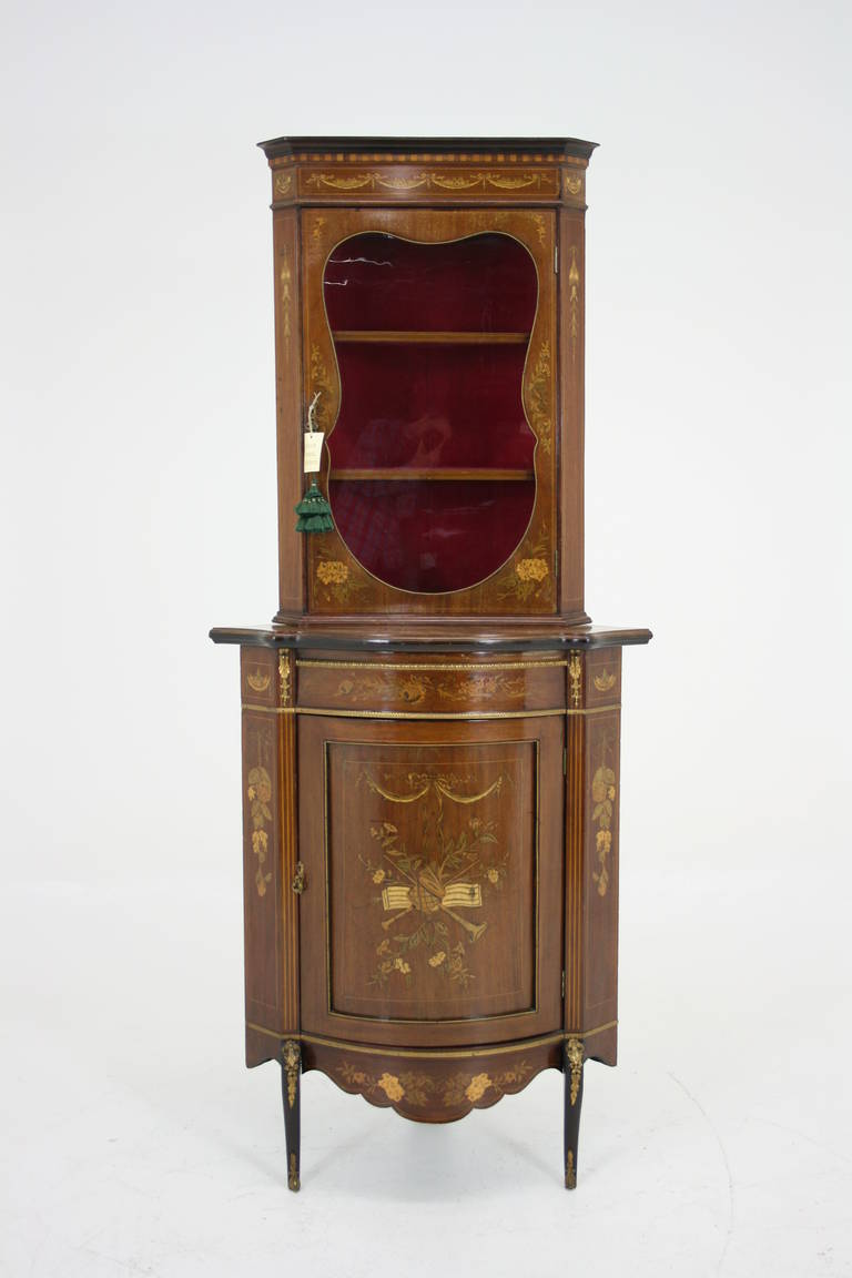 Antique English Victorian Inlaid Marquetry Corner Curio