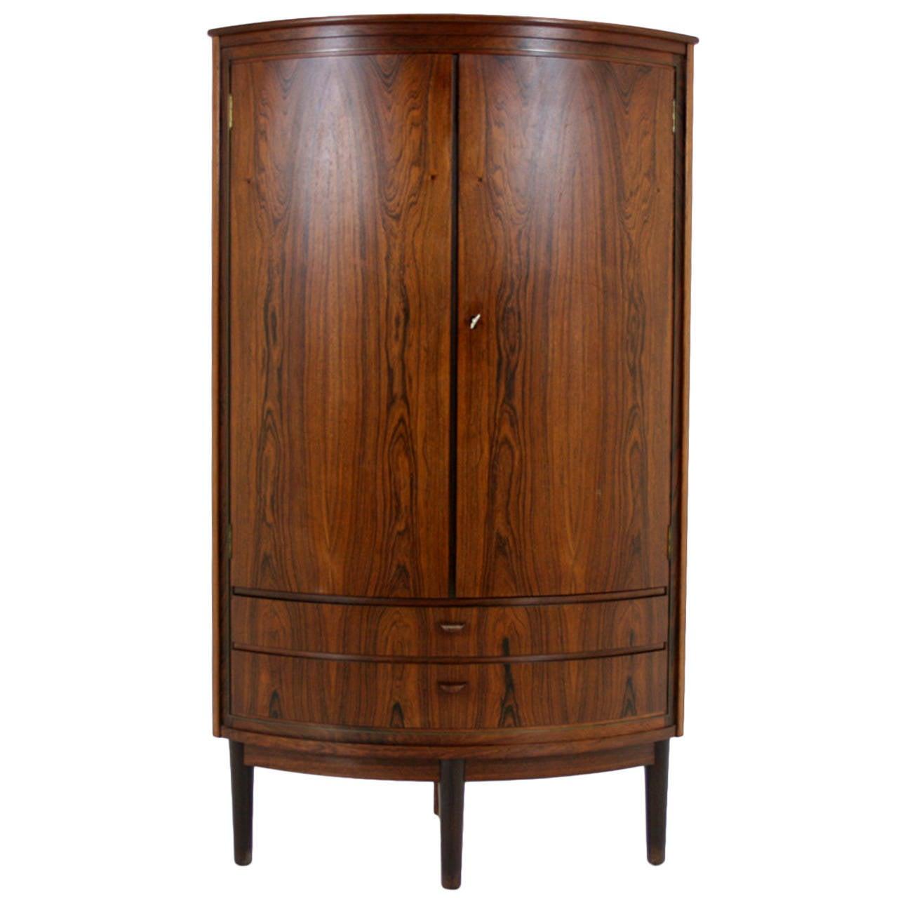 Danish Mid Century Modern Rosewood Corner Cabinet Bar