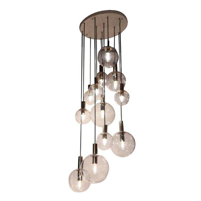 Raak Twelve Glass Sphere Chandelier For