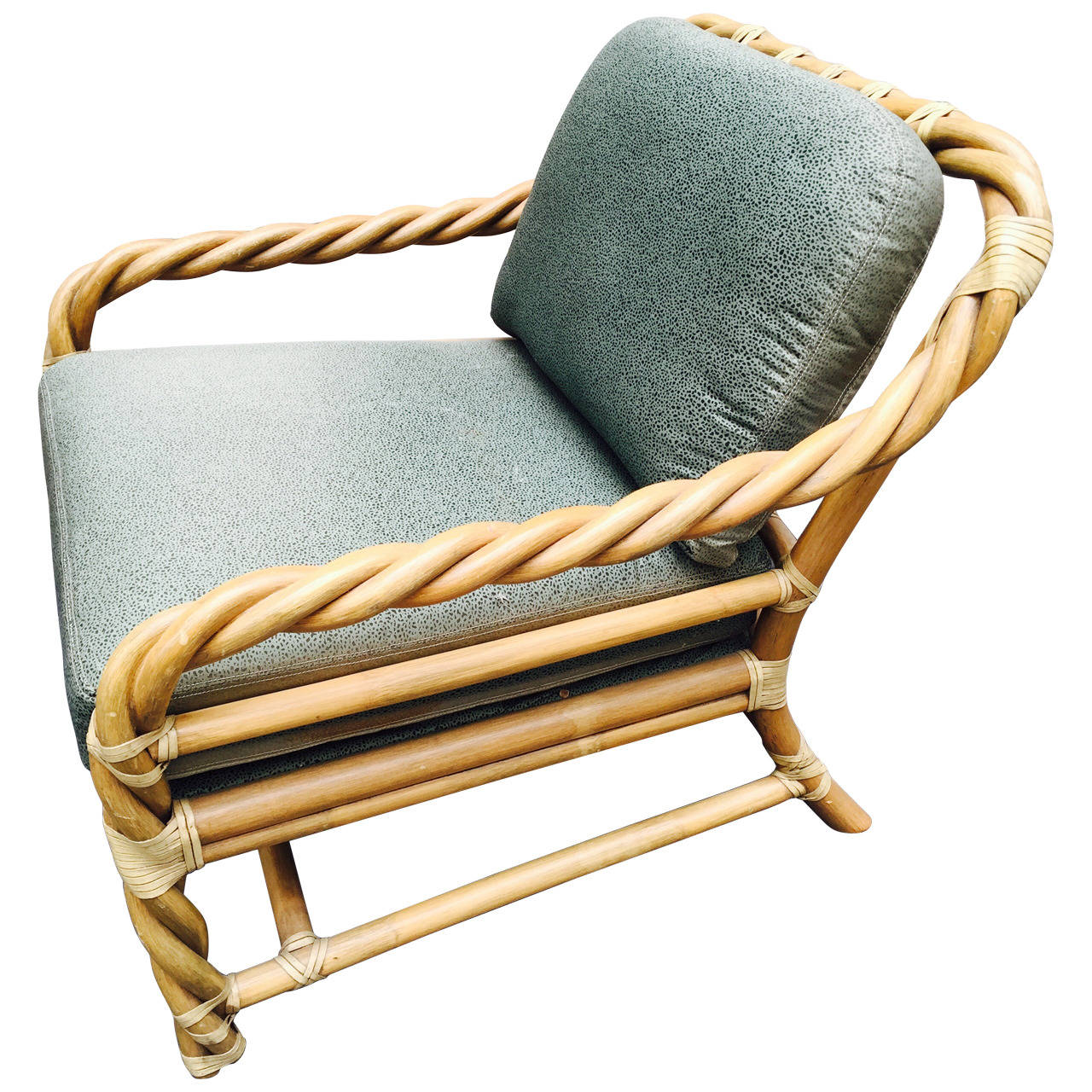 target white rocking chair low beach mcguire twisted rattan mid-century lounge at 1stdibs
