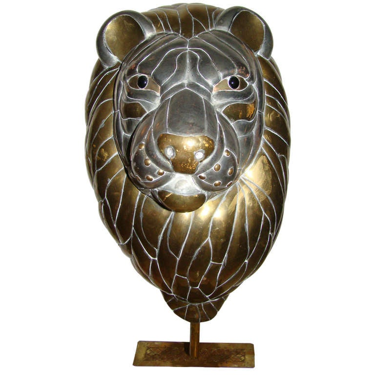 Sergio Bustamante Large Lion Brass Table Sculpture at 1stdibs