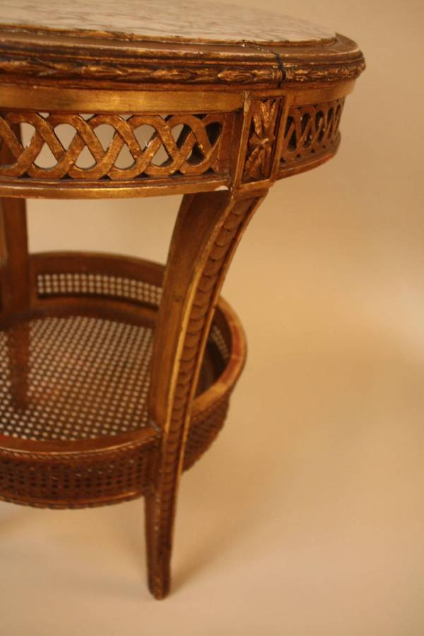 Elegant Gold Leaf Marble Top with Weaving Cane Lower Shelf ...
