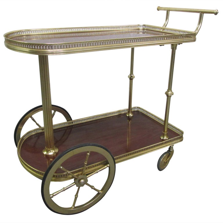French Bronze Rolling Bar Cart For Sale at 1stdibs