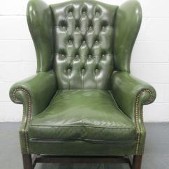 Leather Wingback Chairs Lounge Chair Cushions Target Vintage Green Tufted At 1stdibs