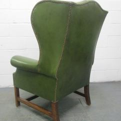 Tufted Leather Wingback Chair Hon Ignition Task Manual Vintage Green At 1stdibs