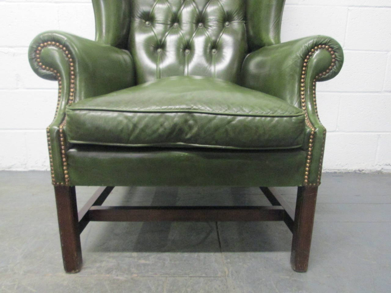 tufted leather wingback chair bistro dining chairs vintage green at 1stdibs