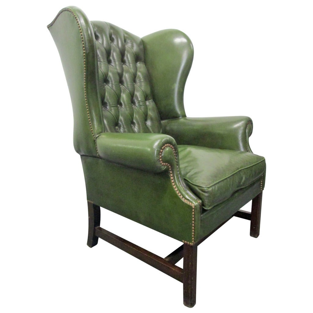 leather wingback chairs chair storage racks vintage green tufted at 1stdibs
