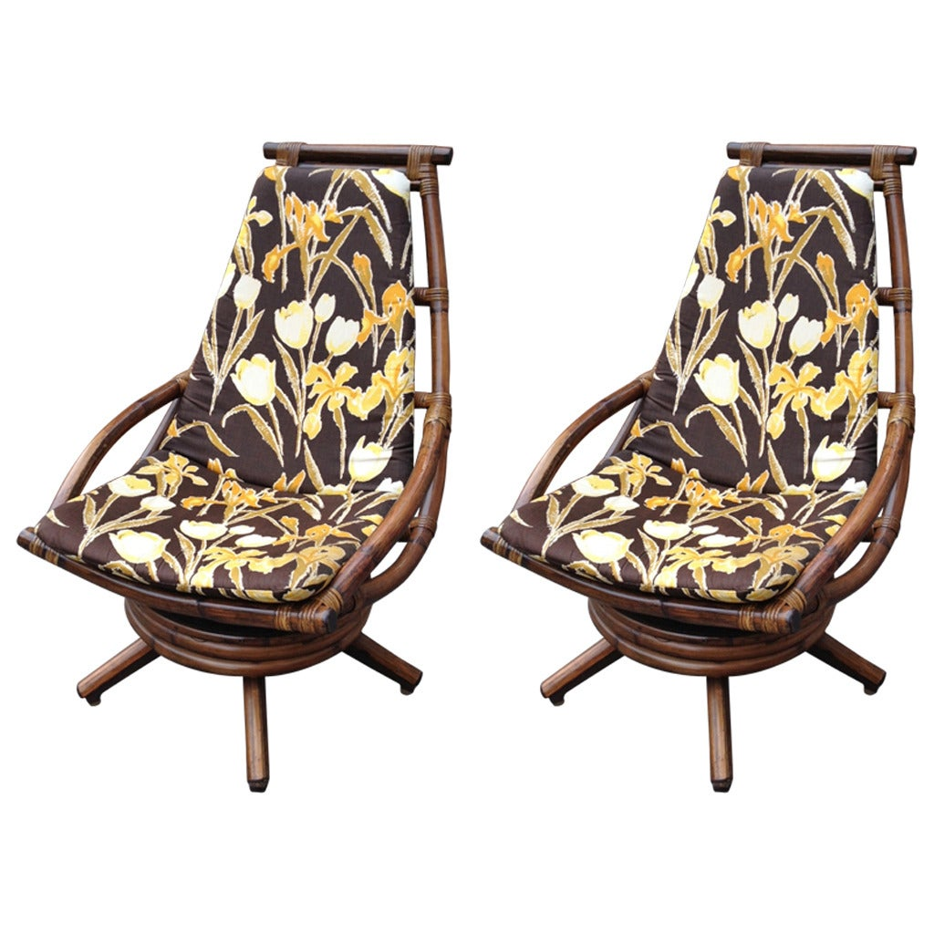 Vintage Rattan Chairs Pair Of Vintage Rattan Swivel Lounge Chairs For Sale At