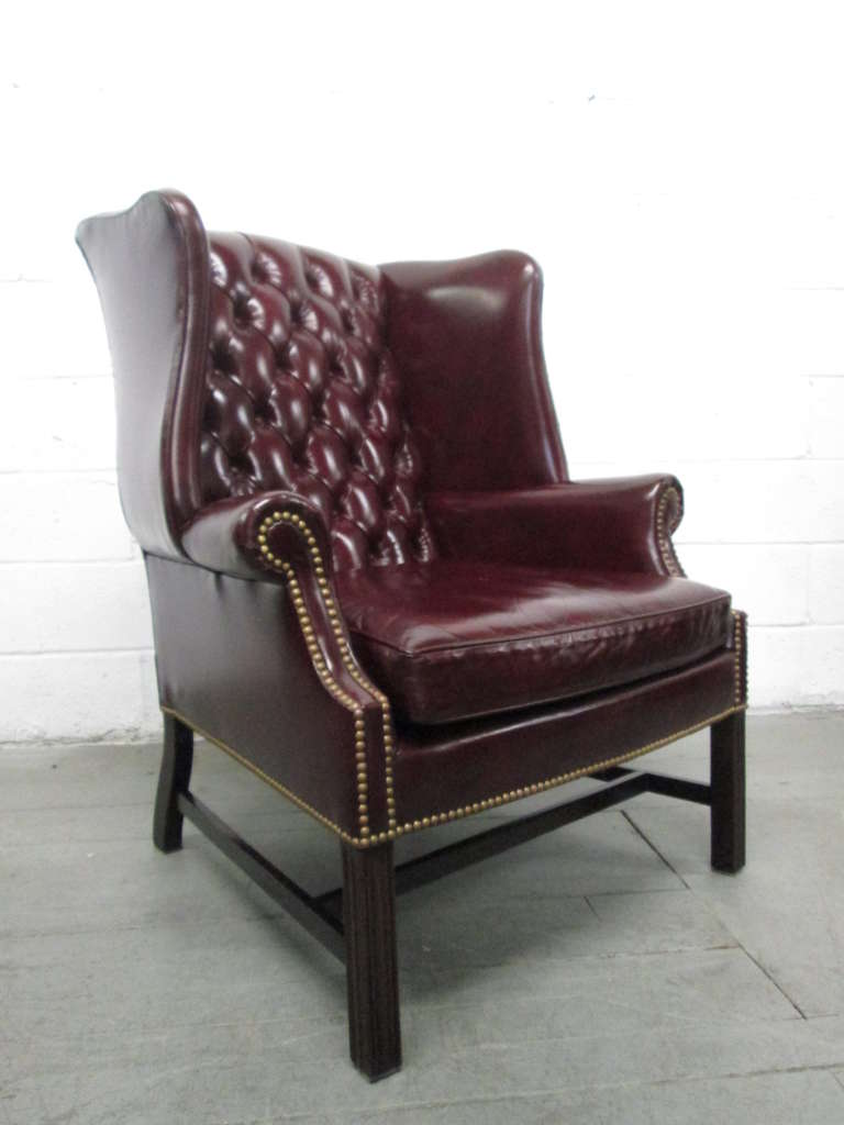 Wingback Tufted Chair Pair Of Vintage Leather Tufted Wingback Chairs