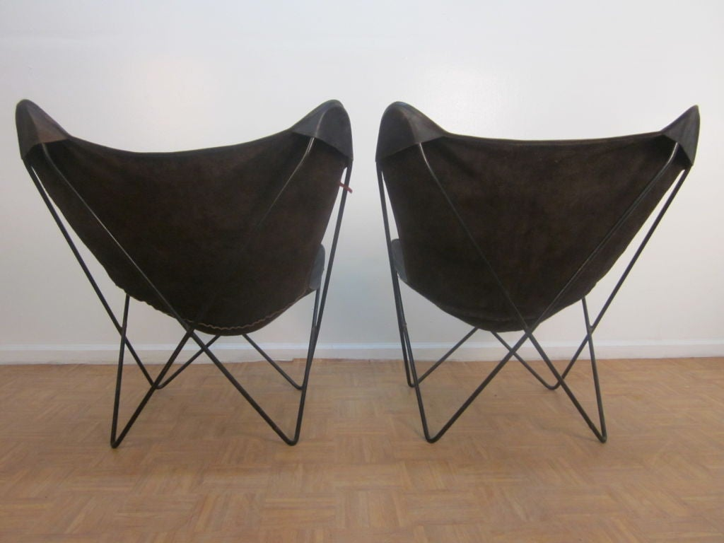 butterfly lounge chair game table sets with chairs pair vintage knoll hardoy leather