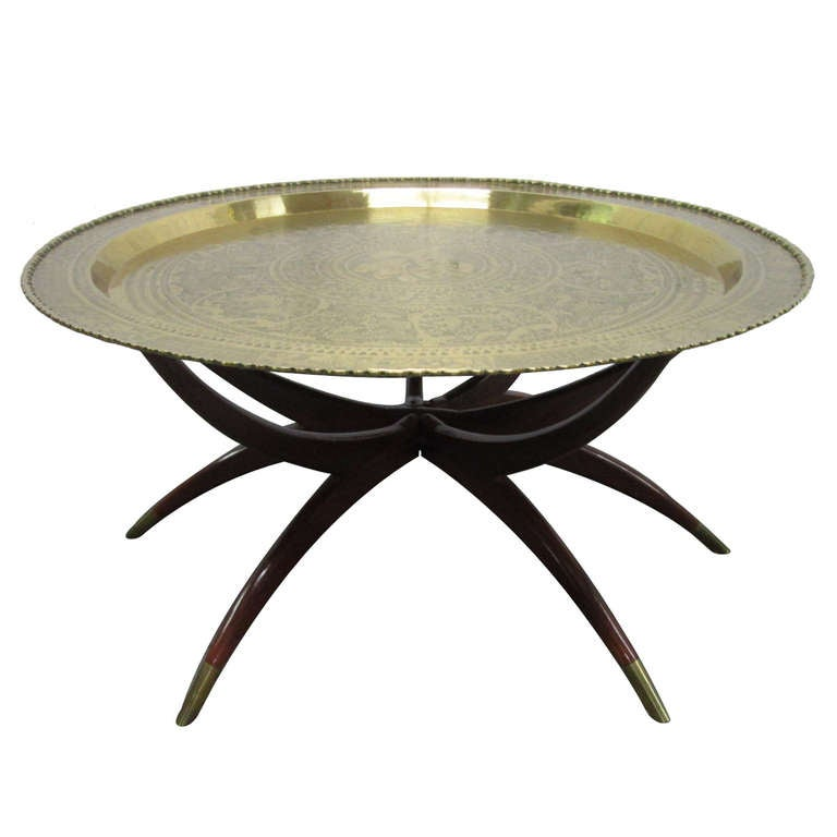 casa italy sofa singapore banquette round brass tray table w/ spider legs at 1stdibs