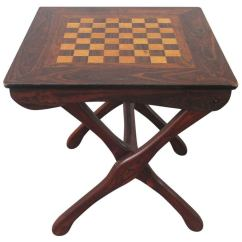 Sling Folding Chairs Lazy Boy Office Depot Don Shoemaker Chess Table Tropical Woods At 1stdibs
