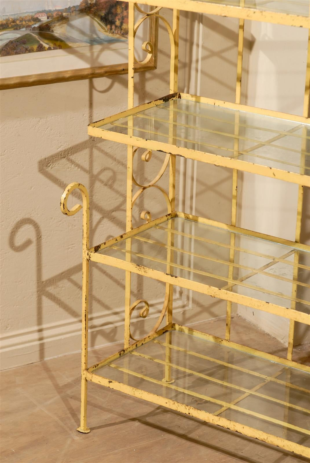 Petite Midcentury Yellow Bakers Rack For Sale at 1stdibs