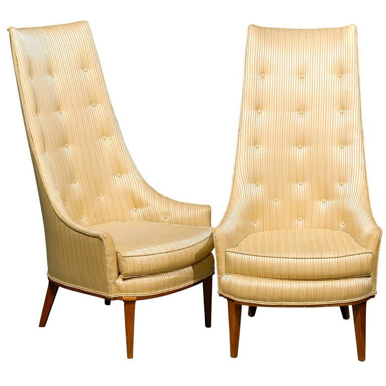 high back tufted chair pottery barn slipcover pair of mid century chairs for sale at 1stdibs