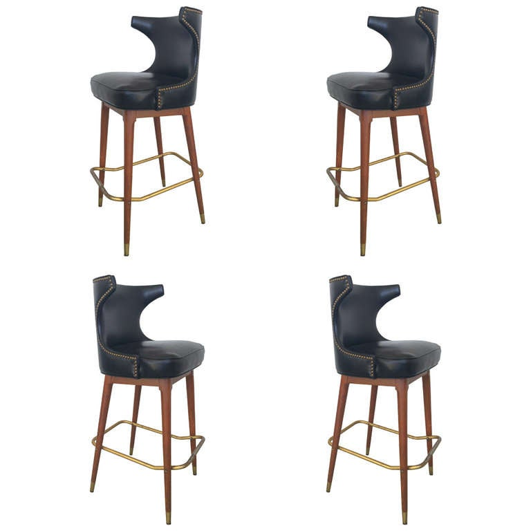 tall drafting table chair teal club four mid-century black leather bar stools at 1stdibs