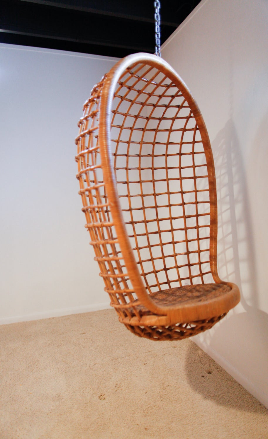 high chair egg pattern for slipcover rattan hanging chair, mid-century at 1stdibs