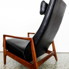 Black Leather Lounge Chair With Ottoman Chef Cushions Stunning Mid-century Reclining Danish At 1stdibs