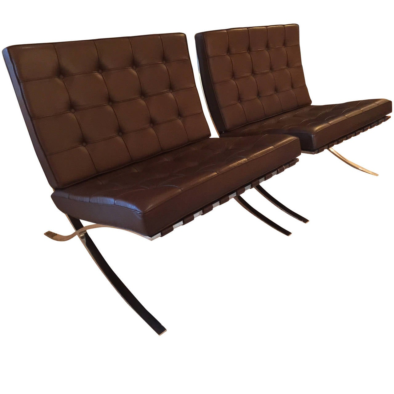barcelona chair used gym accessories pair of brown leather chairs by mies van der