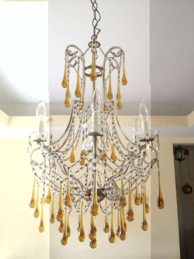 Tear Drop Glass And Crystal Chandelier Murano Venini Style 3