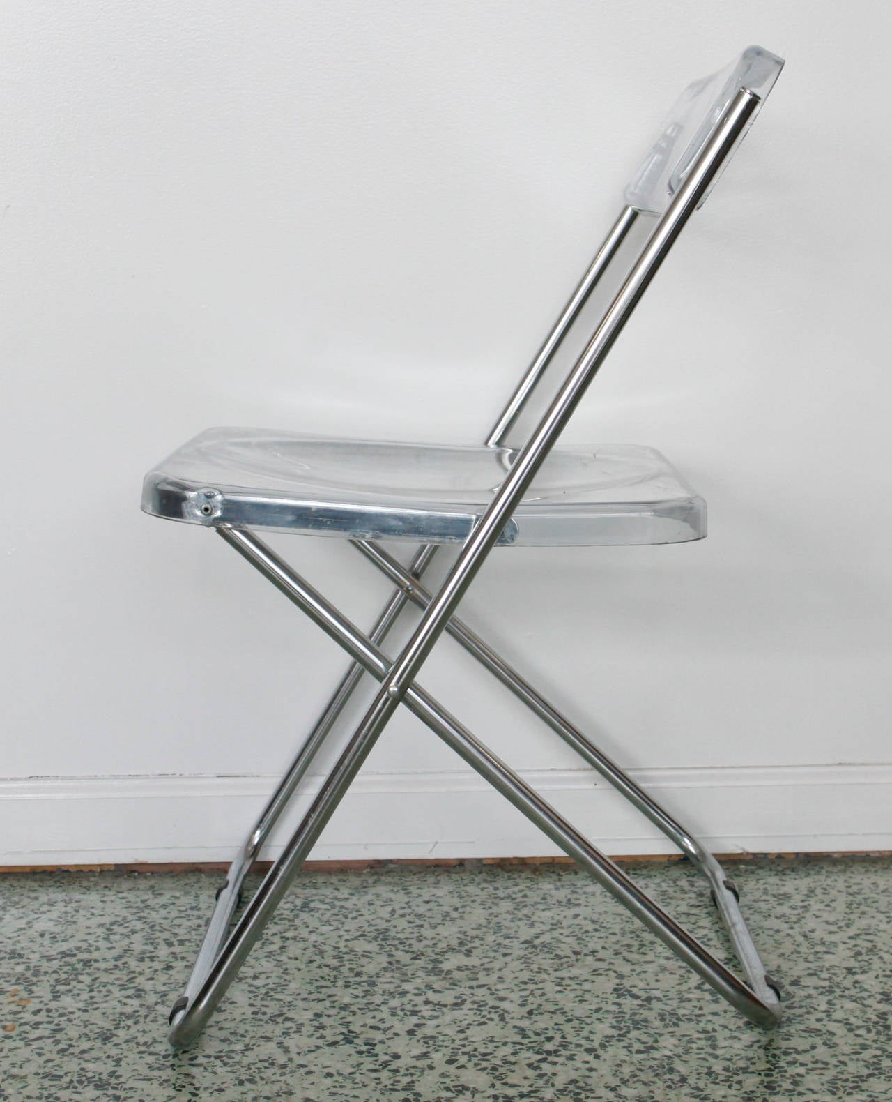Lucite Folding Chairs Six Folding Vintage Transparent Lucite Chrome Italian