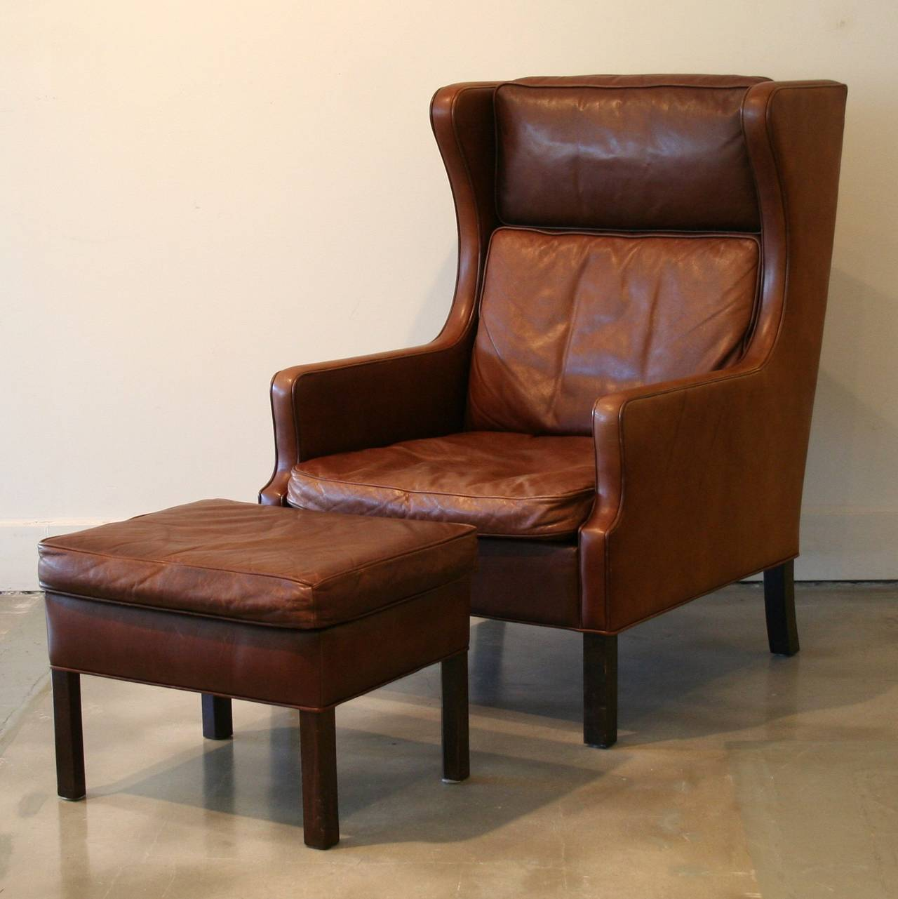 Brown Leather Wingback Chair Vintage Danish Brown Leather Armchair And Ottoman At 1stdibs