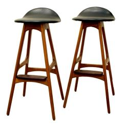 Black Leather Lounge Chair With Ottoman Decorations For Wedding Vintage Teak Bar Stool By Erik Buck At 1stdibs