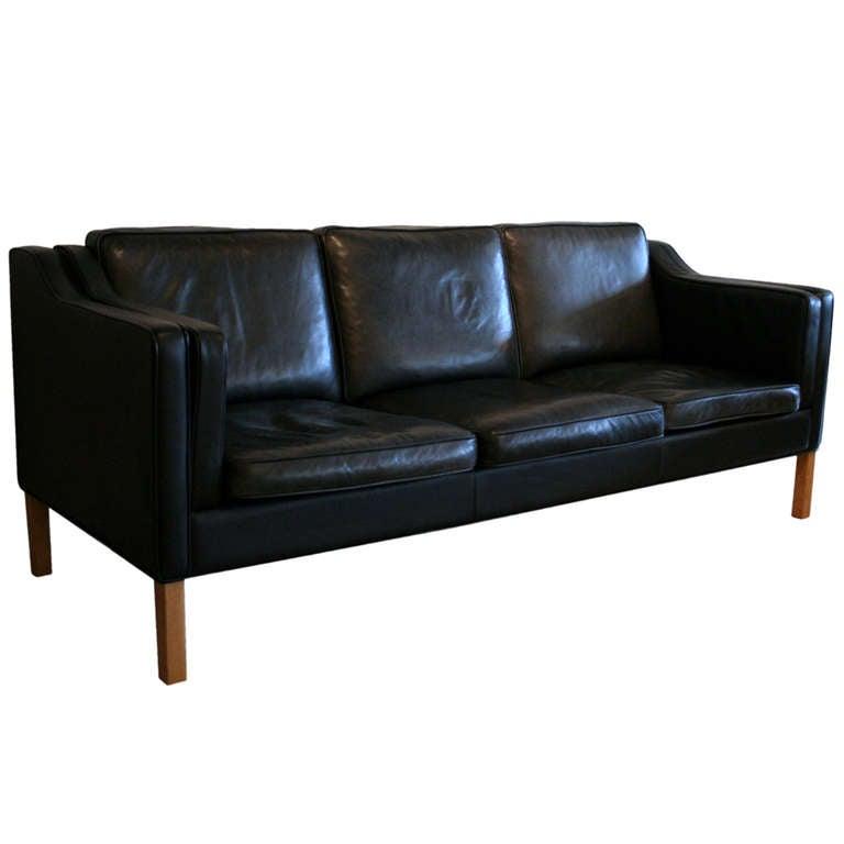 Vintage Black Leather Sofa at 1stdibs