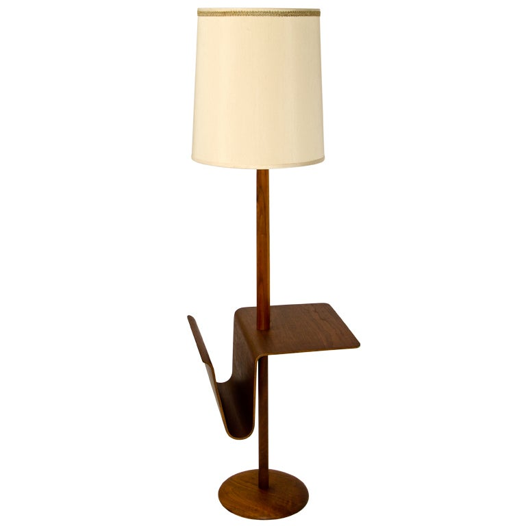 Bent Ply Walnut Floor Lamp with Magazine Rack at 1stdibs