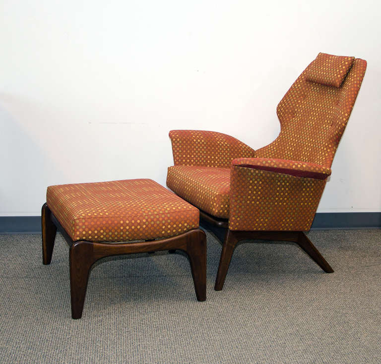 Mid Century Lounge Chair and Ottoman Adrian Pearsall For