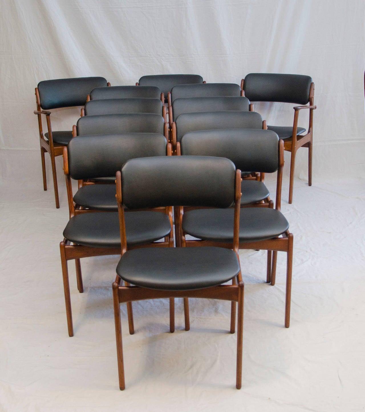 erik buck chairs wheelchair left set of 12 danish teak dining by at 1stdibs