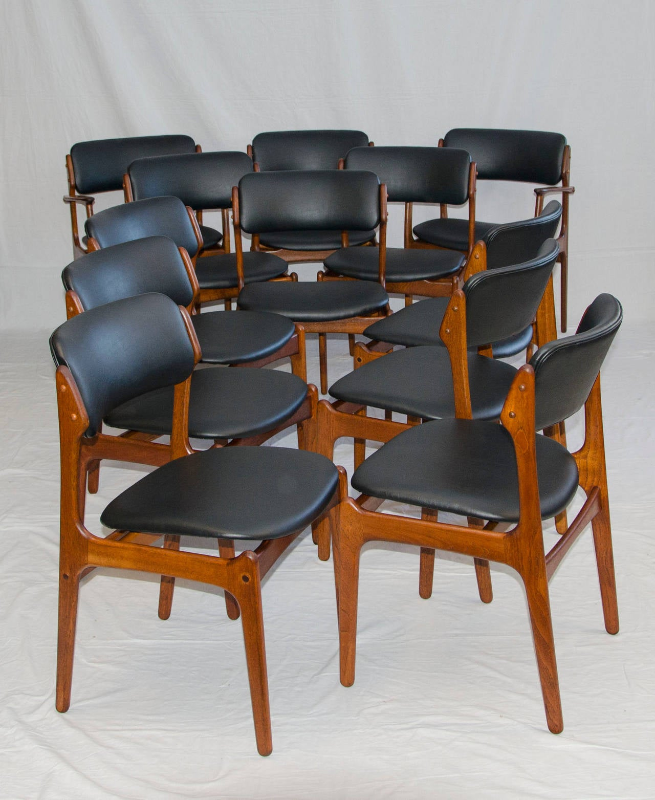 erik buck chairs dining bench and set of 12 danish teak by at 1stdibs