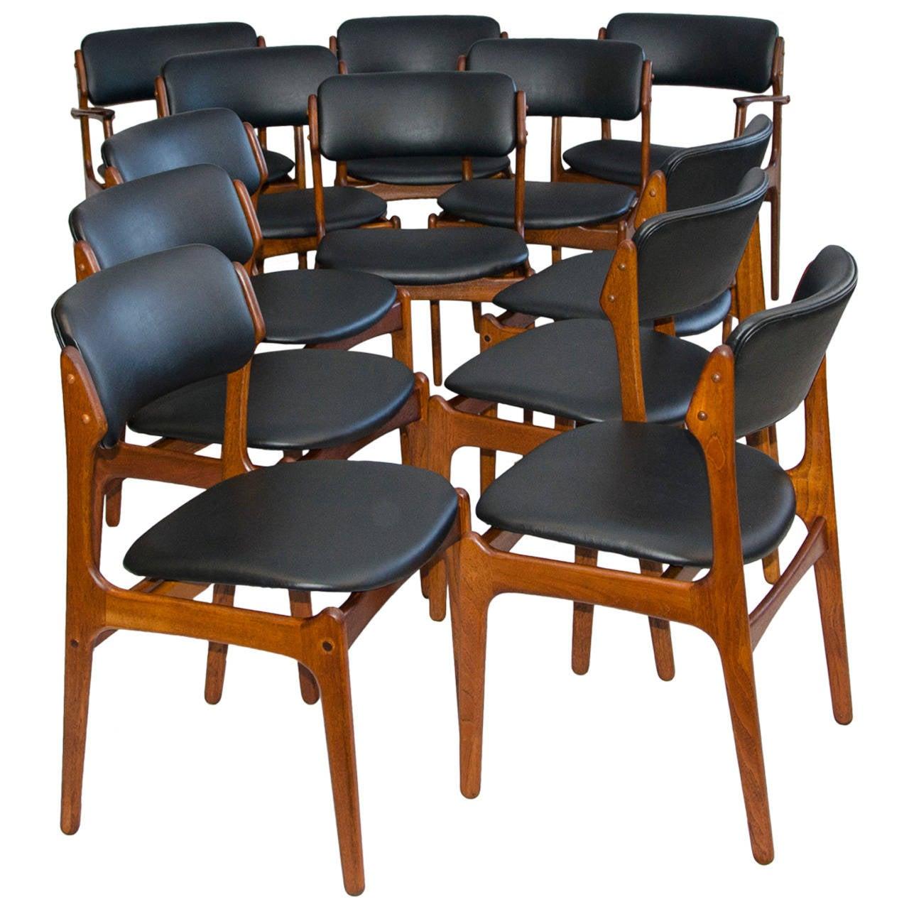 erik buck chairs swing chair baby best set of 12 danish teak dining by at 1stdibs