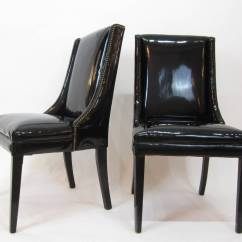 Faux Leather Chair Repair Black And White Cushions Pair Of Mid Century Patent Chairs With Brass Tacks