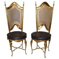 Mid Century Brass and Steel Chairs at 1stdibs