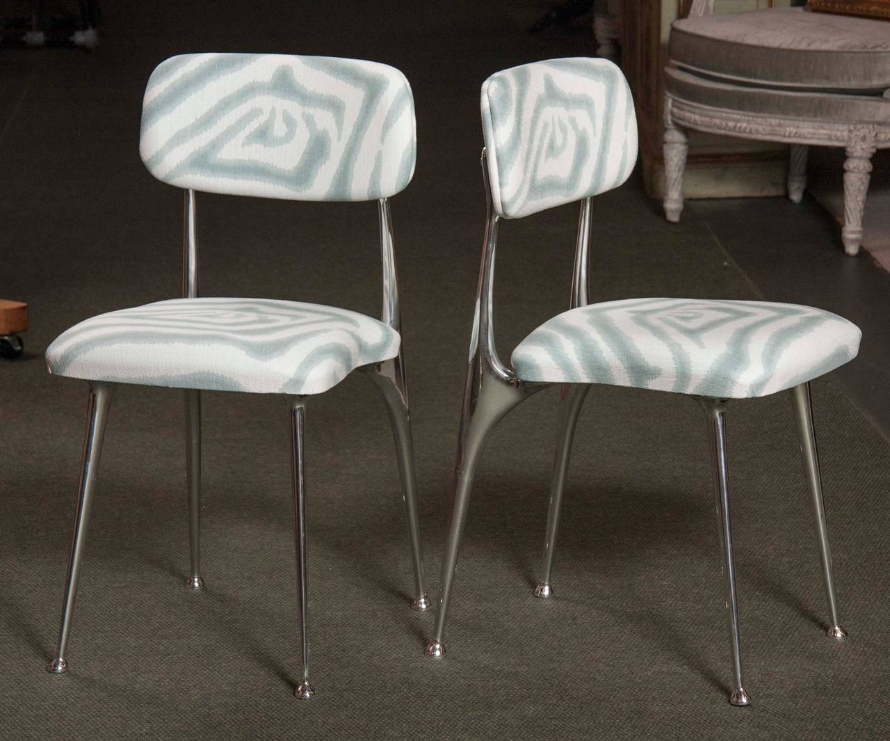 shelby williams chairs comfortable rocking set of 6 polished aluminum dining by