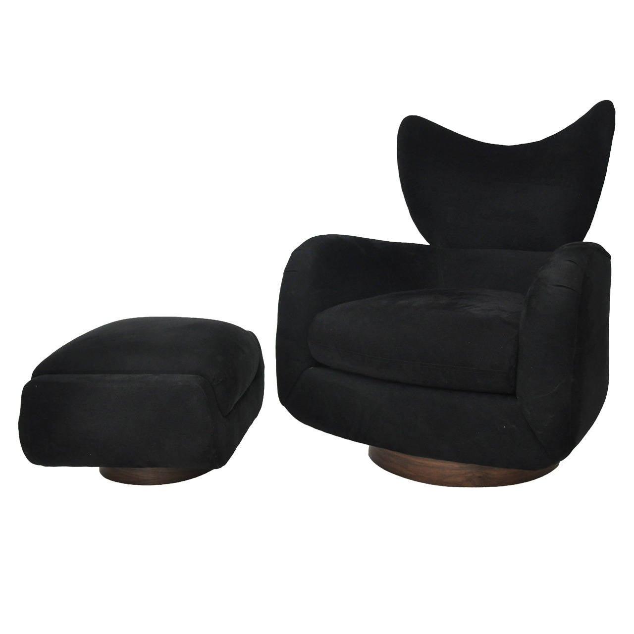 swivel club chair with ottoman elegant dining chairs vladimir kagan lounge at 1stdibs
