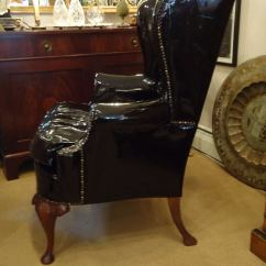 Queen Anne Wingback Chair Leather Posture On Sassy Black Patent Wing At 1stdibs