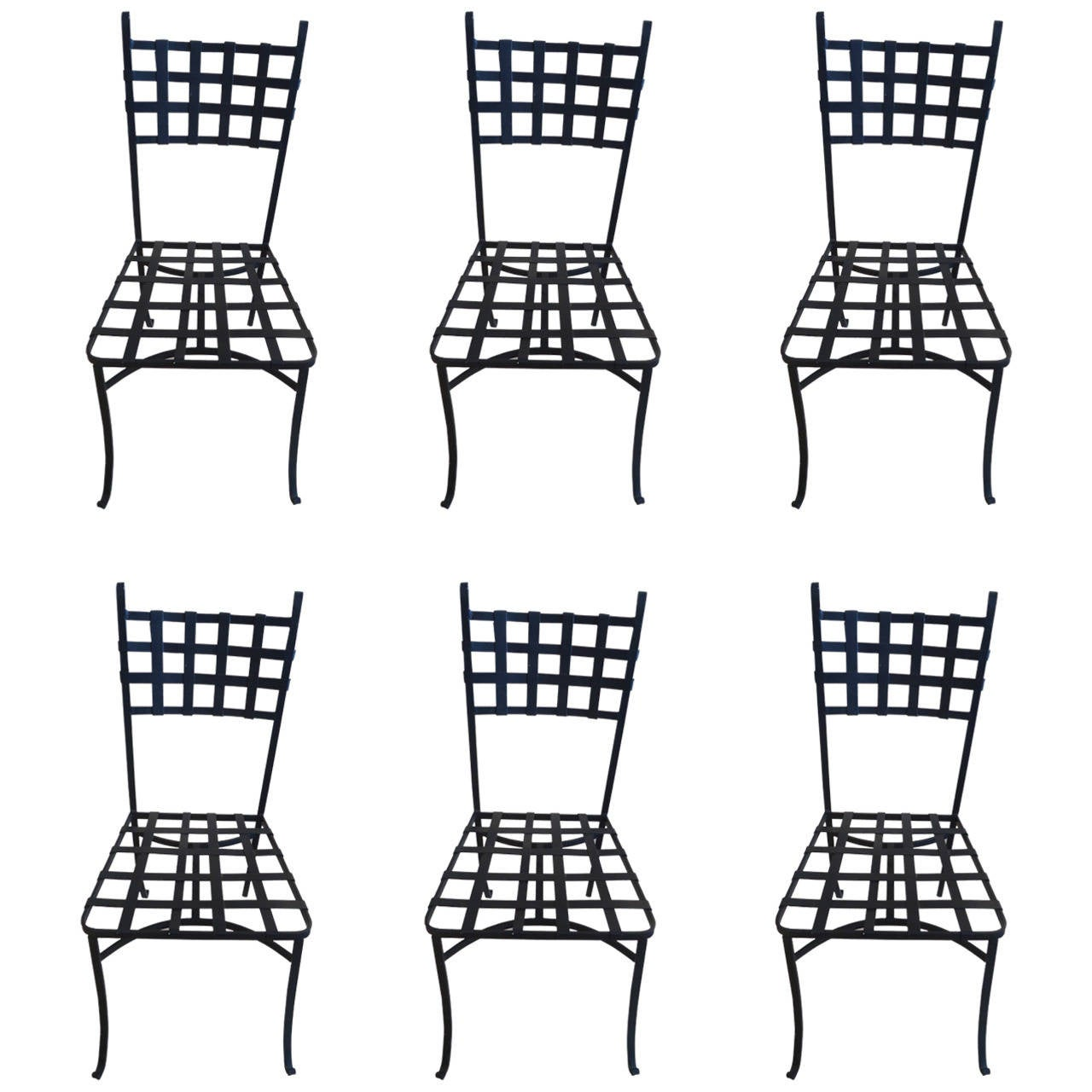 Set Of Six Vintage French Wrought Iron Dining Chairs At