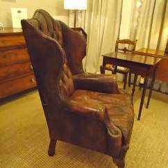 Brown Leather Slipper Chair Mickey Mouse Folding Sublime Pair Of Chocolate Tufted Wing Chairs At