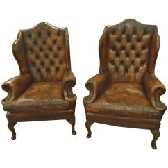 Leather Slipper Chair Chocolate Retro Wire Chairs Sublime Pair Of Tufted Wing At
