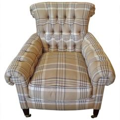 Cream Club Chair And A Half Swivel Rocker Recliner Great Looking Ralph Lauren Plaid Comfy At 1stdibs