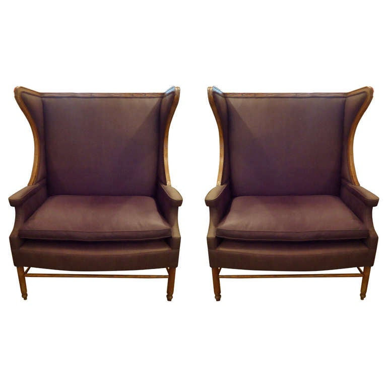 Pair of French Oversized Wing Chairs at 1stdibs