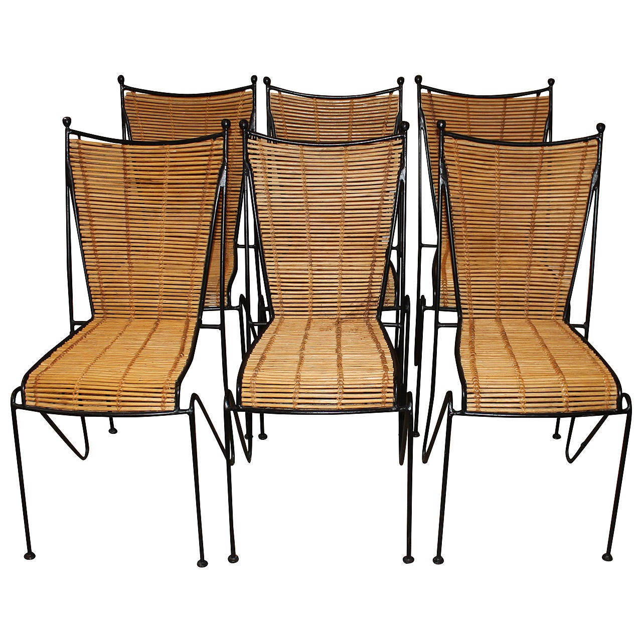 Bamboo Dining Chair Set Of Six Wrought Iron And Bamboo Dining Chairs