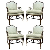 Faux Bamboo Upholstered Chinese Chippendale Chairs at 1stdibs
