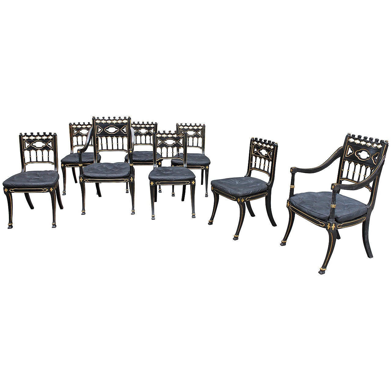 medieval dining chairs patio chair seat cushions gothic style regency set of eight for sale