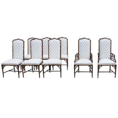 Henredon Chairs Dining Room Chair Cushions Kohls Set Of Eight Faux Bamboo For Sale