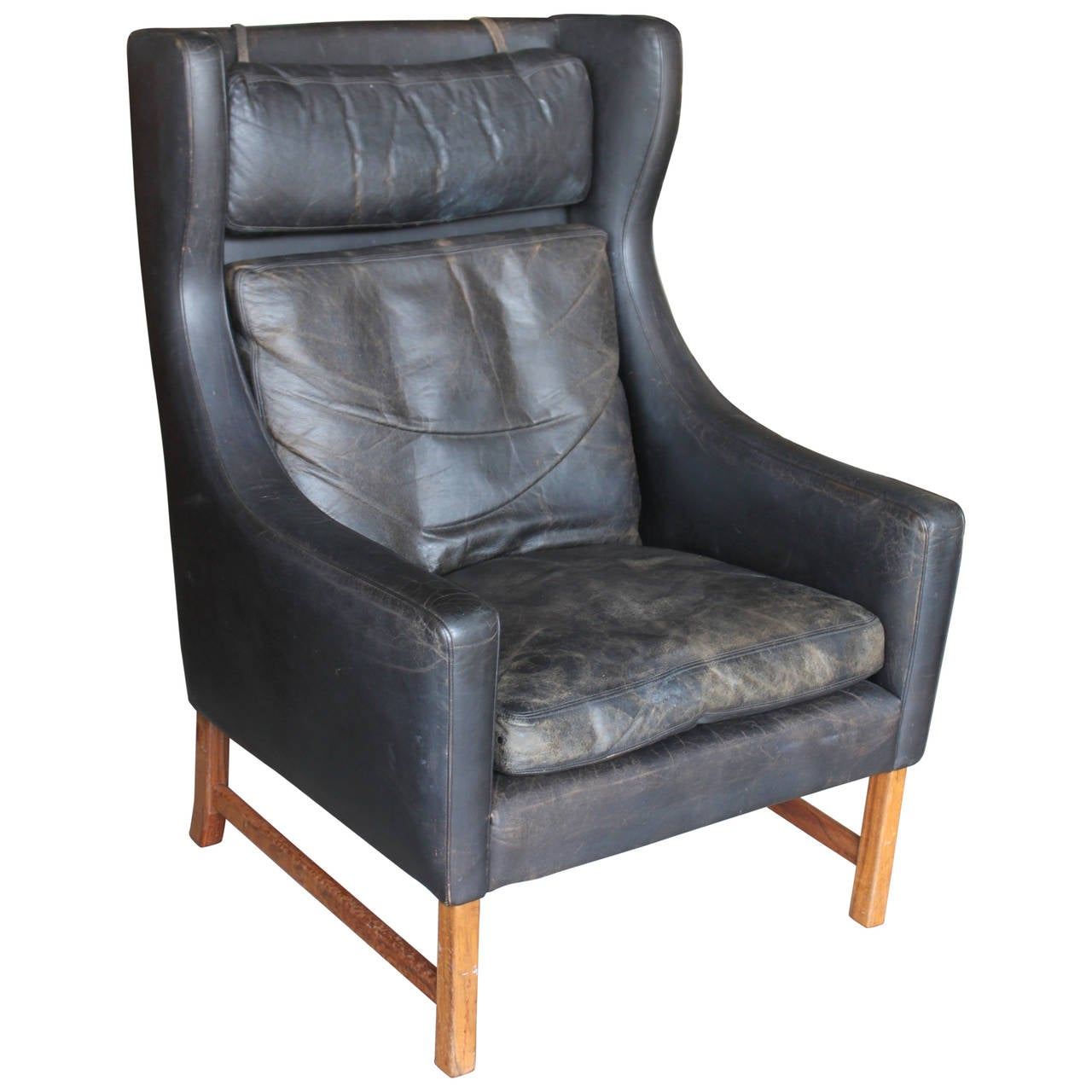 Leather Wing Back Chair Vintage Norwegian Leather Wingback Chair At 1stdibs