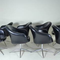 Barrel Swivel Chairs Upholstered Distressed Kitchen Set Of 8 Dining Circa 1970s At 1stdibs A Nice Eight With Simple Chrome Bases