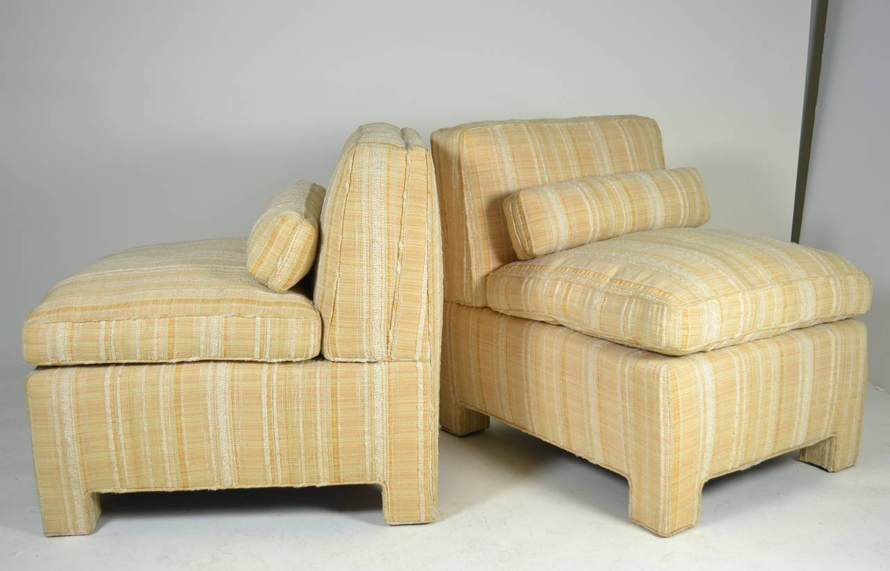upholstered slipper chair high back chairs for sale pair of modern circa 1960s